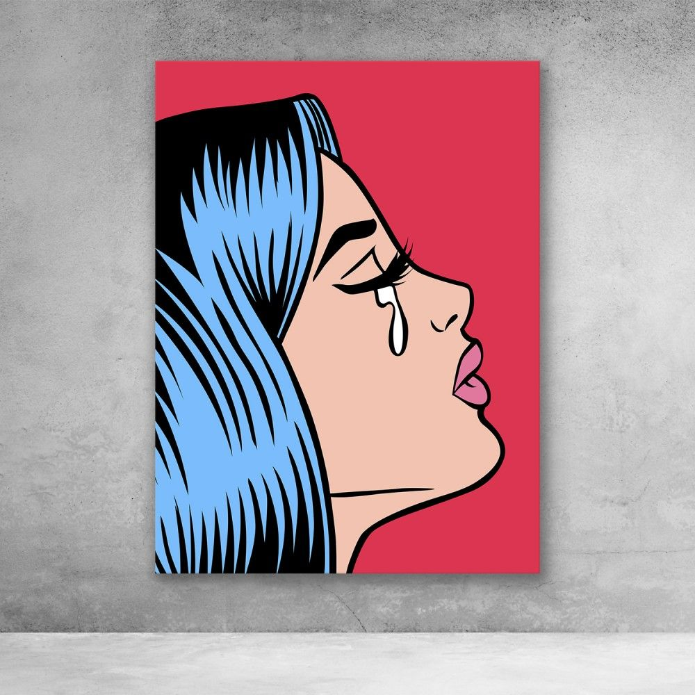 Pop Art Girl Crying Red In 2020 Cute Canvas Paintings Canvas