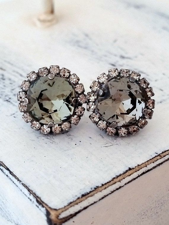 Gray Earrings Swarovski Crystal Oxidized Silver Wedding Bridesmaid Bridal Earring Eldor