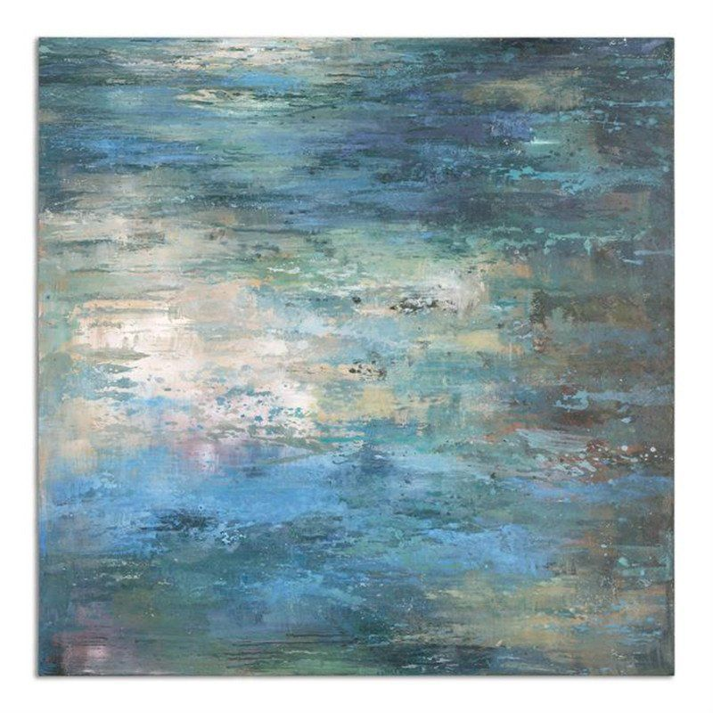 Wall Art - Oversized Abstract Painting Wall Art - Pastel Blues ...