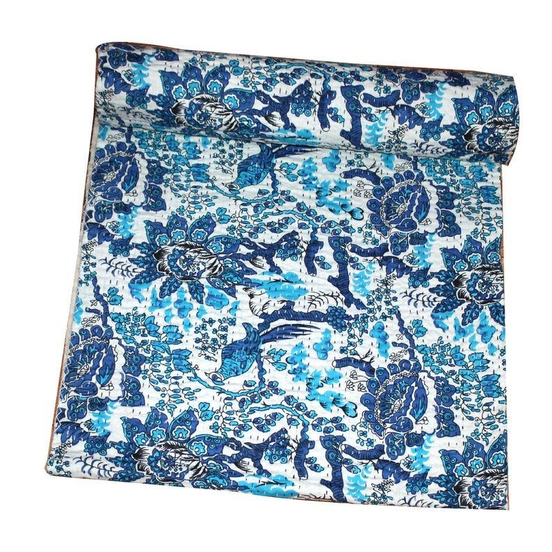 New Indian Kantha Quilt Handmade Cotton Bedspread Bedding Blanket King Size