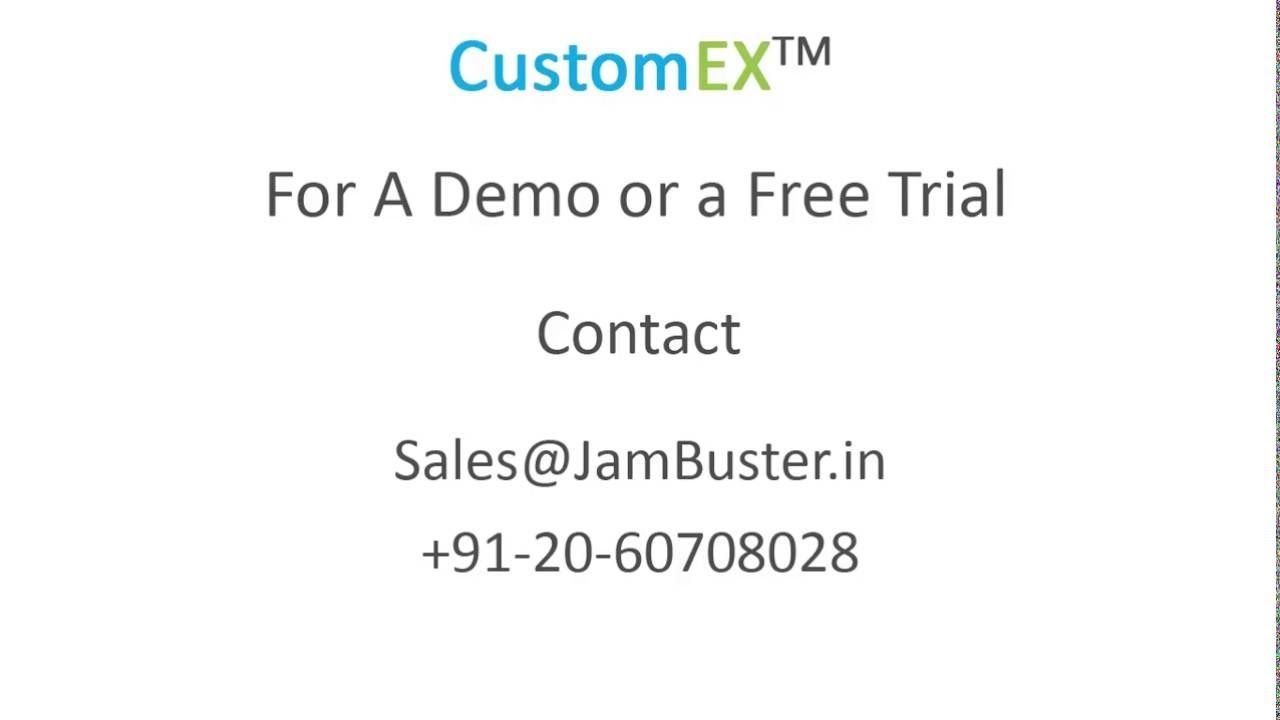 CustomEX, a customer engagement software, enables vendors to offer customers an integrated channel for all interactions, to create a superlative customer experience. CustomEX Product Details@ http://www.jambuster.in/customex-crm-customer-engagement-software.html For support: http://customex.jbt.in/
