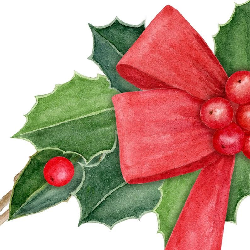 Watercolor Holly Clipart Watercolor Christmas Wreath Clipart Winter Clipart Watercolor Holly Border And Frames Clipart Png In 2020 Navidad Clip Art
