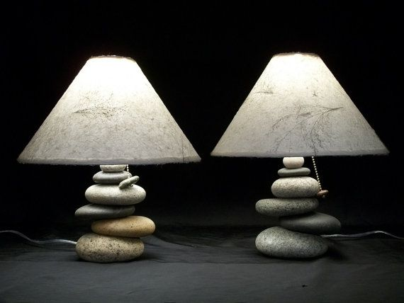 Bedside lamps set of balance rock lamps von mainerockguy auf etsy
