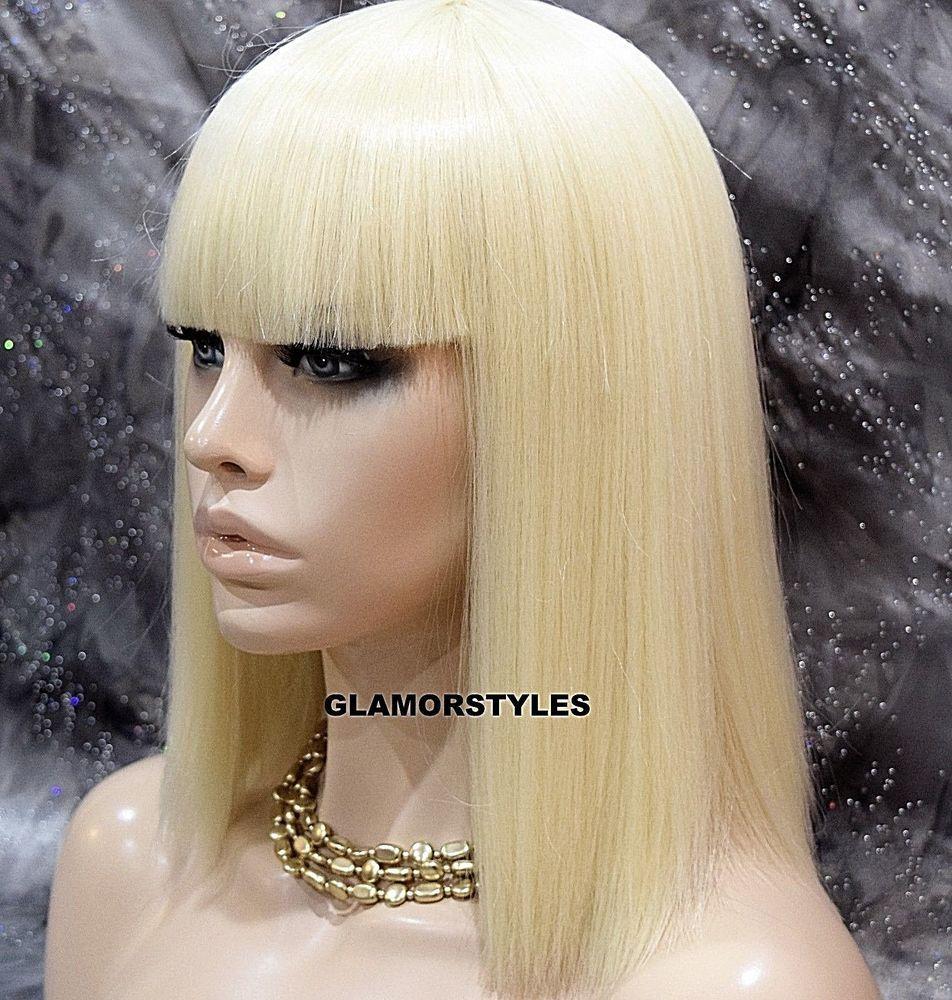 Human Hair Blend Bob Straight Bangs Bleach Blonde Full Wig Hair Piece 613 Nwt Ebay Human Hair Wigs Blonde Wigs Hair Piece