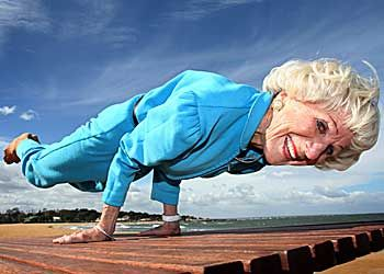 this woman in her 80's is a yoga guru and extremely fit
