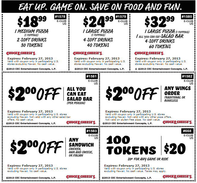 100 Game Tokens For 20 And More At Chuck E Cheese Pizza Coupon Via The Coupons App Free Printable Coupons Printable Coupons Coupon Apps