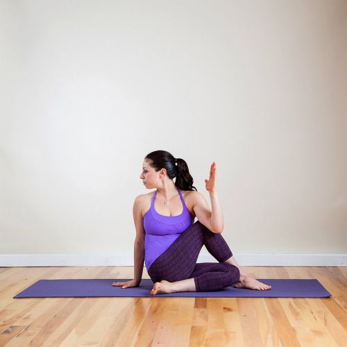 """One-Legged Seated Spinal Twist """" • From Open Revolved Extended Side Angle, inhale as you bring the left knee forward behind the right foot and sit down. Exhale to cross your left elbow over to the outside of the right knee, and press the right palm..."""