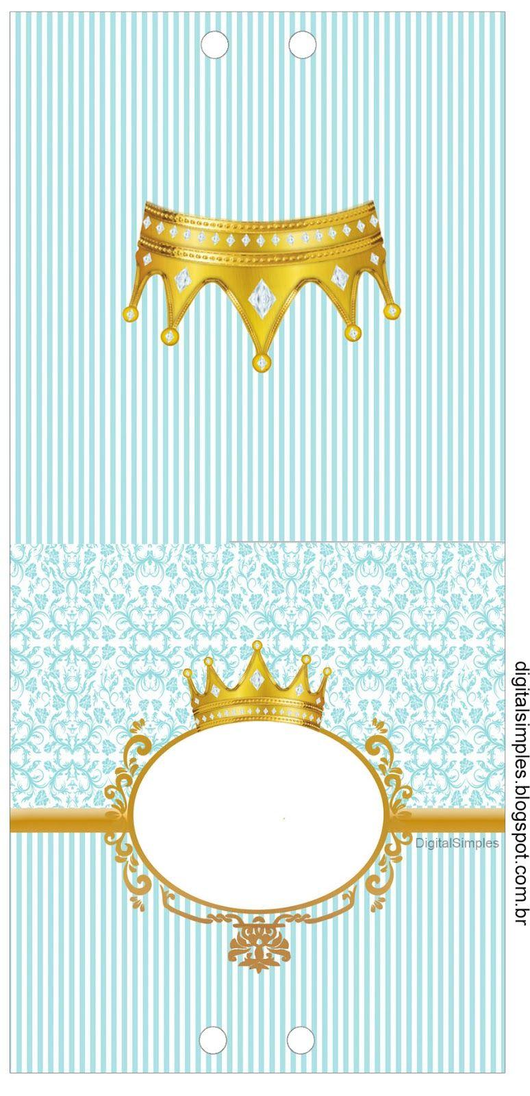 Kit personalizado tema coroa azul menino para imprimir - Modelos de coronas ...