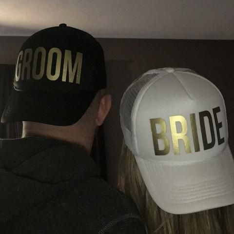 929eb80da4e97 GROOM BRIDE Wedding Baseball Cap Gold Print Mesh Hat Women Party Brand  Bachelor Club Team SQUAD TRIBE Snapback Caps Casquette