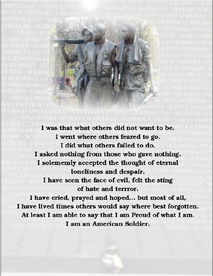 I AM a Soldier Poem   Poems For Soldiers*$% - Help Us Salute Our ...