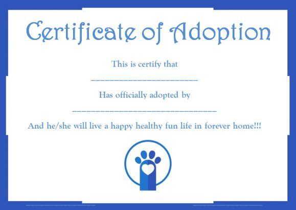 Pet adoption certificate template free pet adoption certificate pet adoption certificate template free yelopaper Image collections