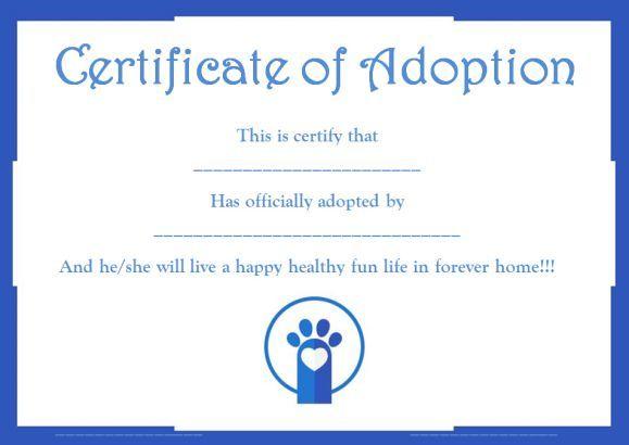 Pet adoption certificate template free pet adoption certificate pet adoption certificate template free yelopaper Images