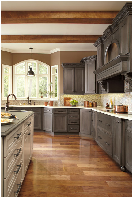 Painting Your Kitchen Cabinets Is No Small Undertaking: Kitchen With Two-Tone Cabinets And Countertops
