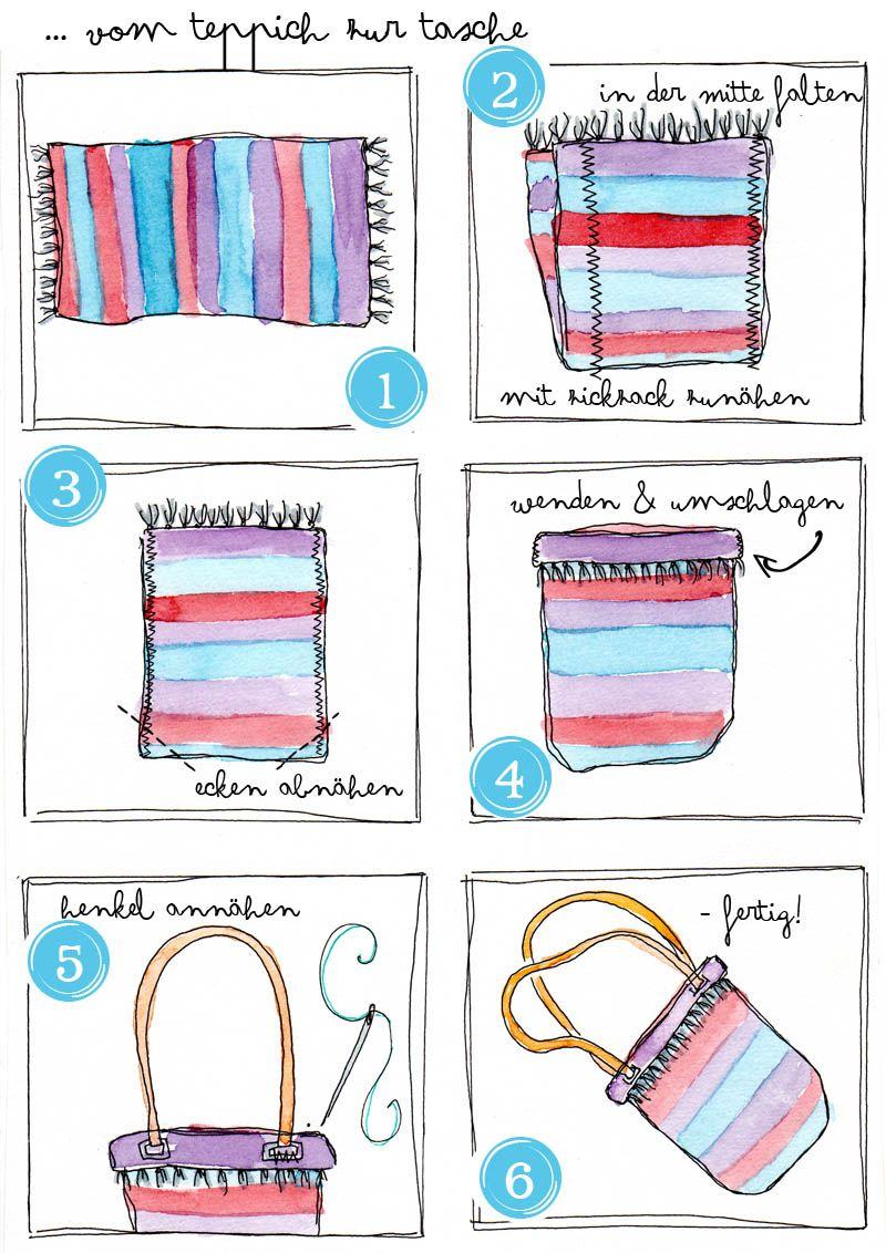 [diy] Teppich → Tasche ....ganz einfache Nähanleitung ...