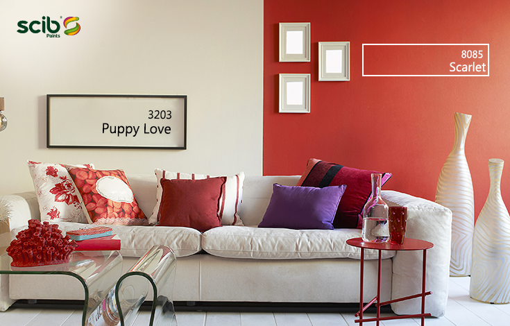 Interior Design Of A Luxury Living Room Modern Lamp And Scarlet 8085 Puppy Love 3203 Wall Paint Htt Luxury Living Room Wall Paint Colors Asian Paints