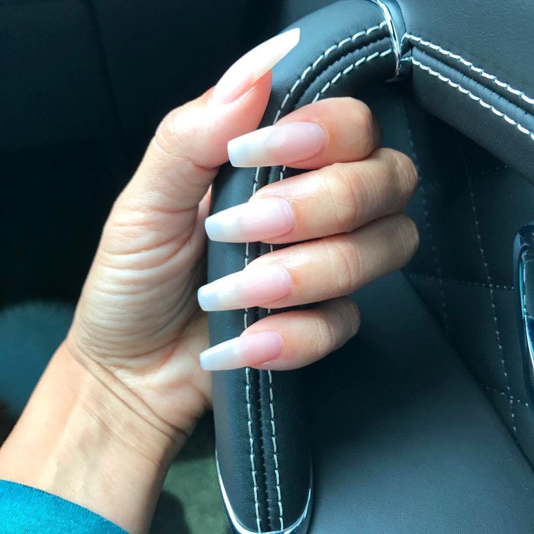 Blue glitter ombr 233 stiletto nails - Instagram