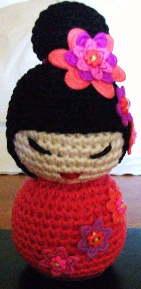 Amigurumi Crochet Kokeshi Doll £15.00 now available on Folksy at Bunny' Emporium
