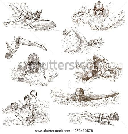 how to draw 2 people swimming