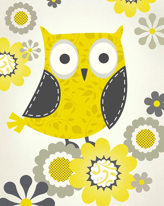 Yellow and Gray Patterned Owl Art Print by pictorialboom on Etsy ...