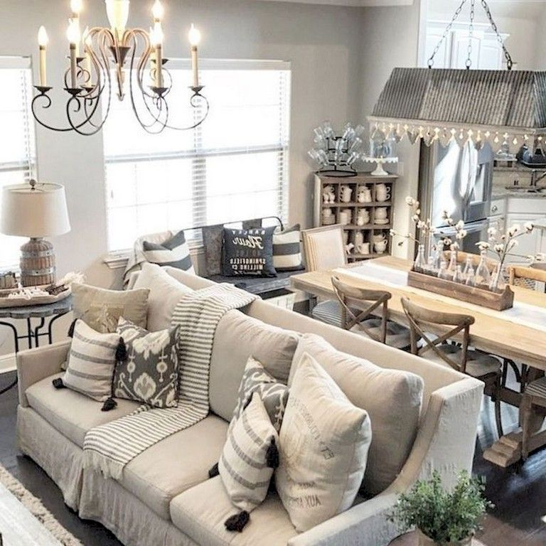 73+ Amazing Rustic Living Room Farmhouse Style Decorating Ideas images