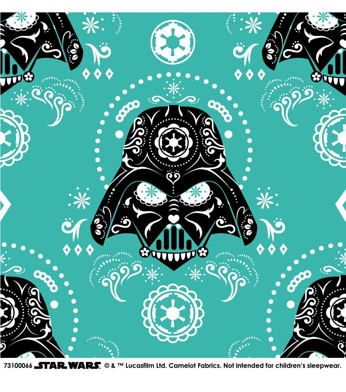 Star wars darth vader sugar skulls cotton fabric darth for Star wars fabric