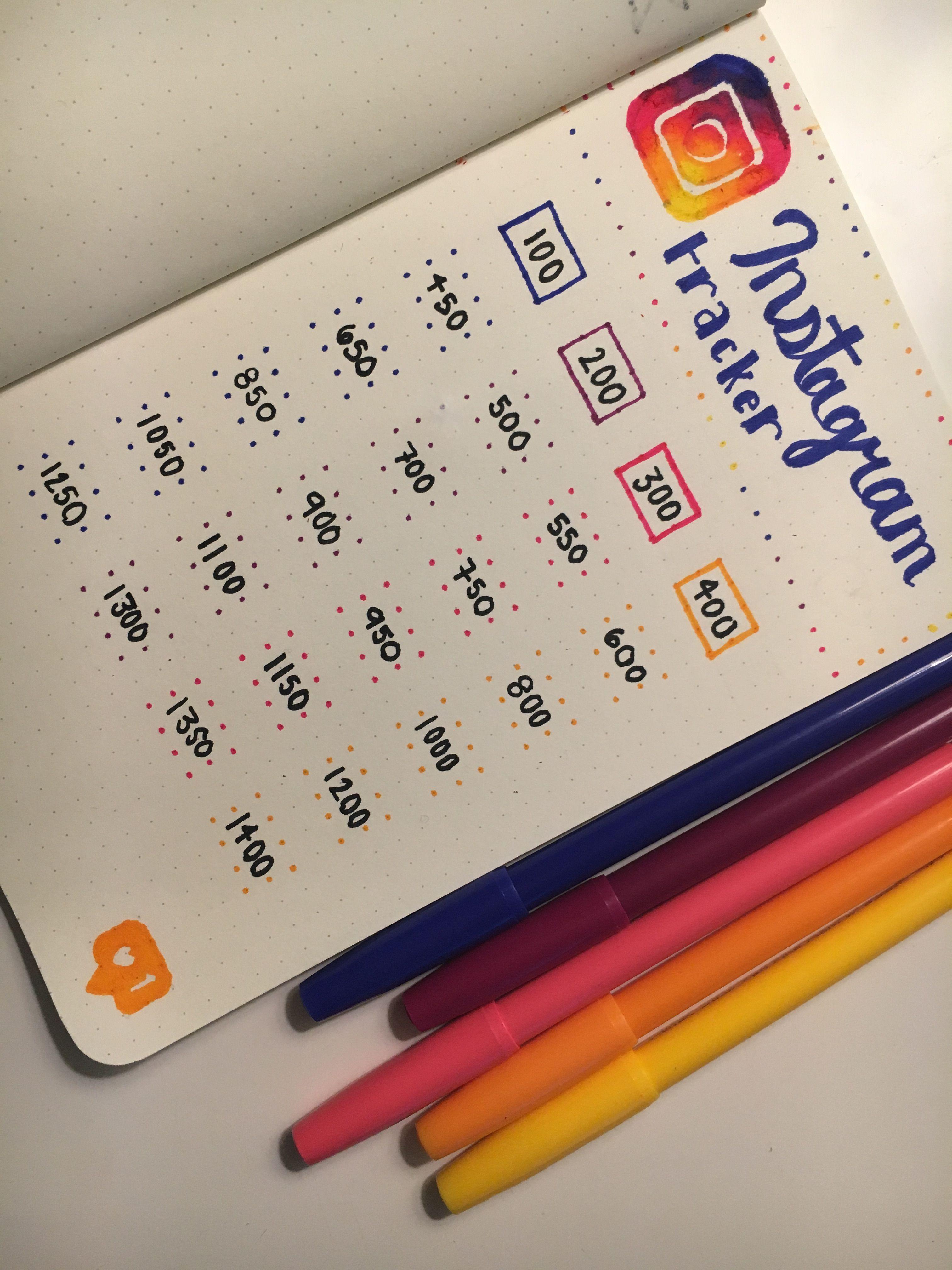 Bullet Journal Instagram Tracker August Yocher Crafts Stabilo Boss Orange Set 10 Shrink Inspiration