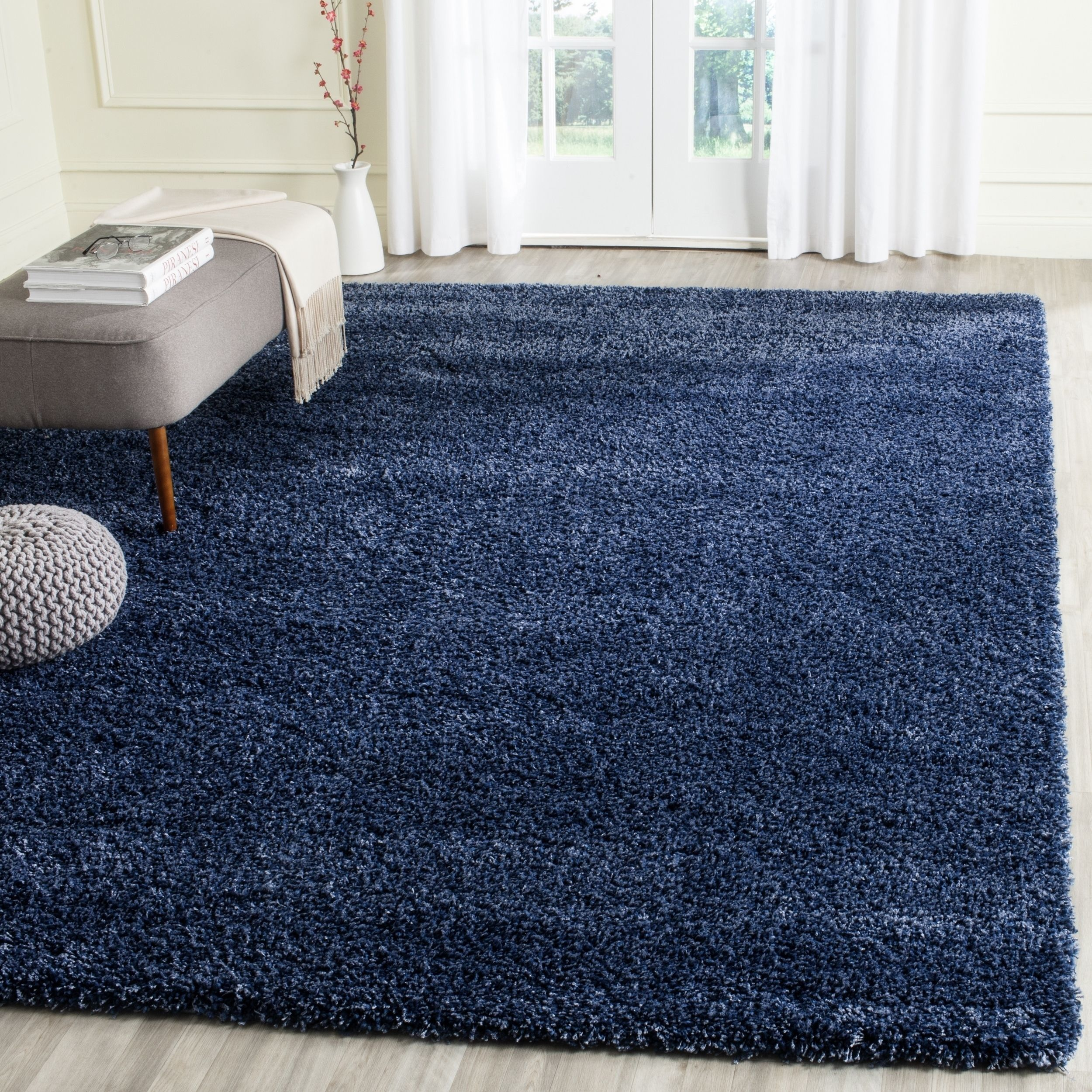 Lovely Safavieh California Cozy Solid Navy (Blue) Shag Rug (11u0027 X 15u0027