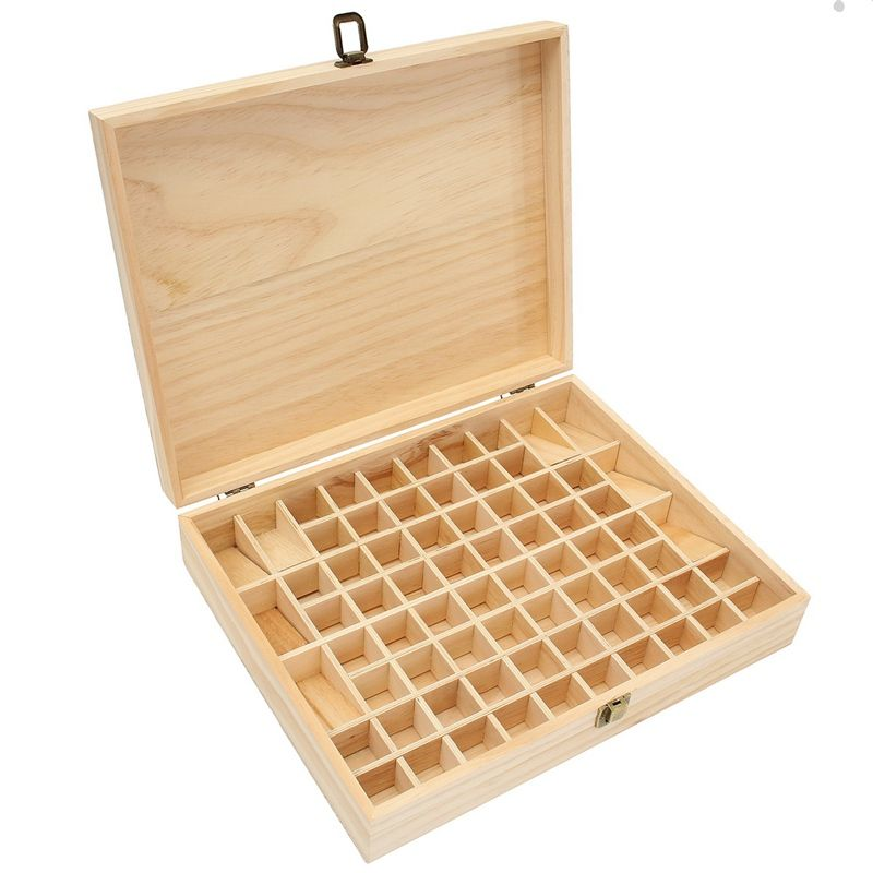 Handmade Decorative Boxes Kiwarm Modern 72 Holes Large Pine Wooden Essential Oils Box