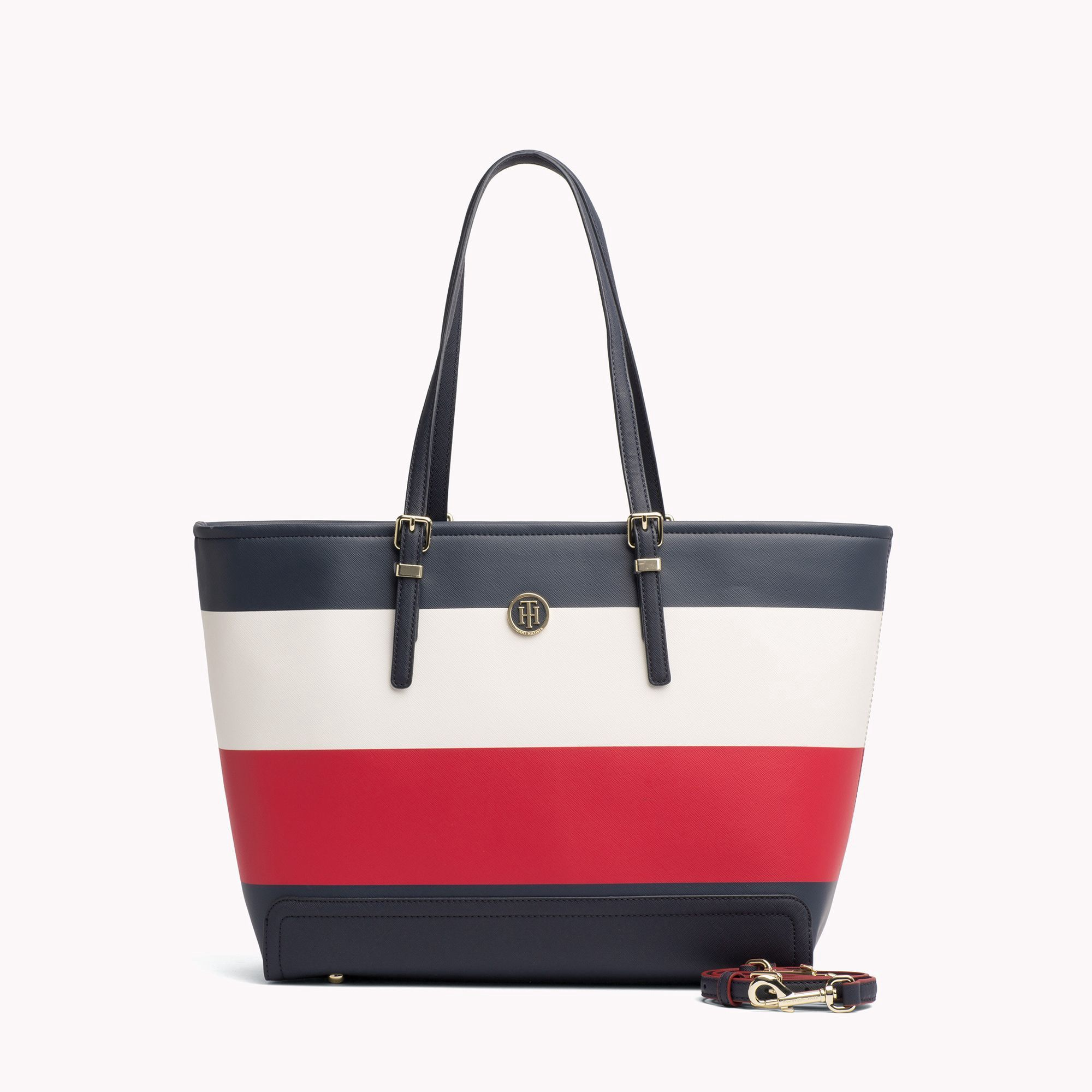 Tommy Hilfiger Stripe Tote Bag Farfetch In Blue Modesens Tommy Hilfiger Handbags Striped Tote Bags Trending Handbags