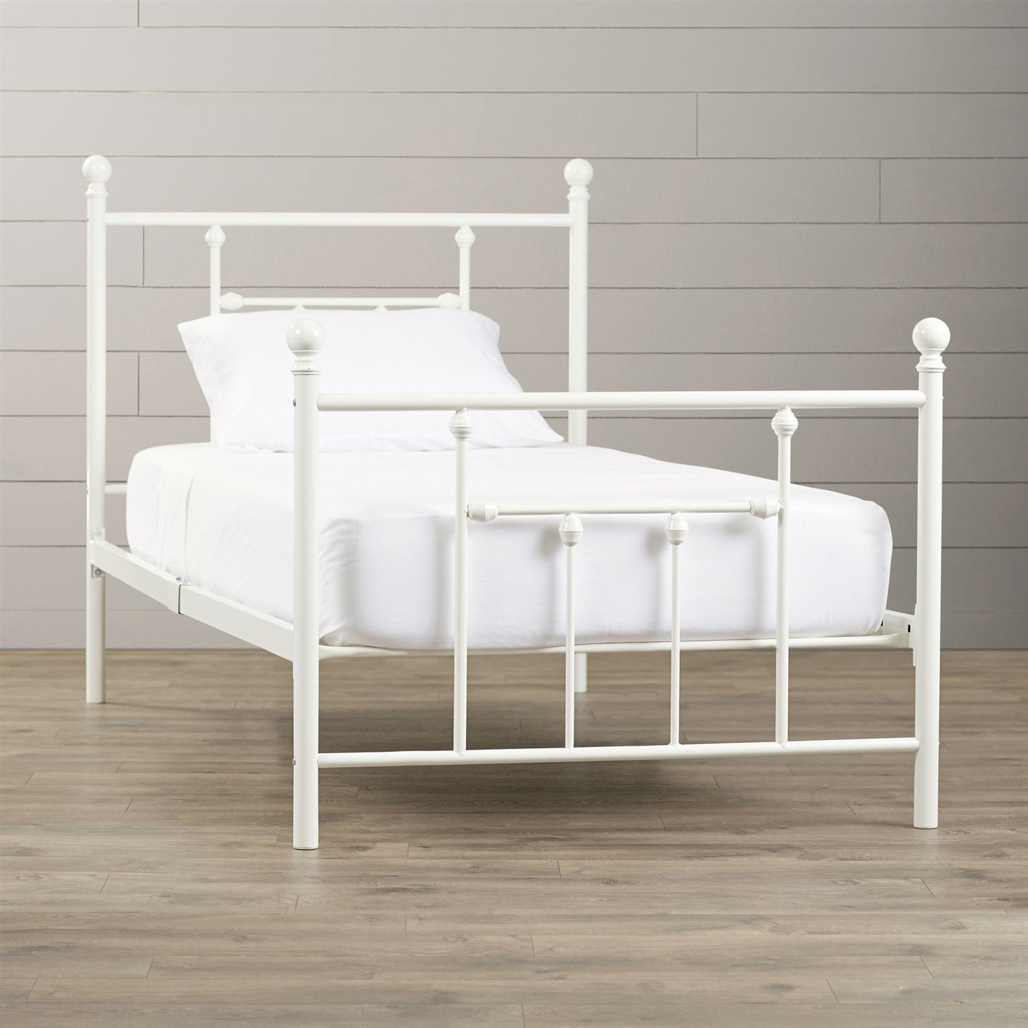 Twin size White Metal Platform Bed Frame with Headboard and ...
