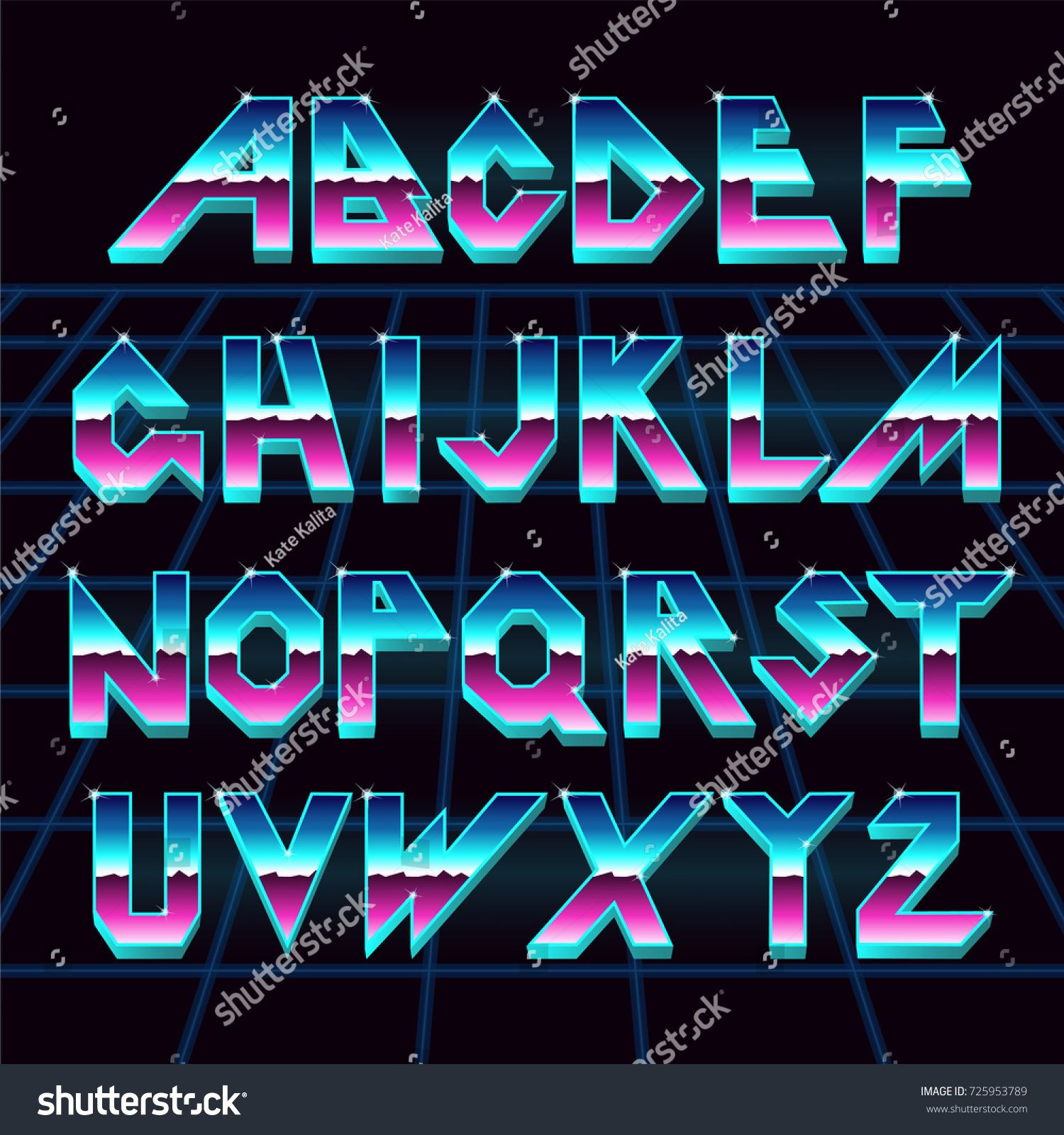 Alphabet 80s Retro FontVector Typography For Flyersheadlines PostersEffect Shiny Letters Neon Stylevintage Dance NightRetro Futurism Sci Fi Font