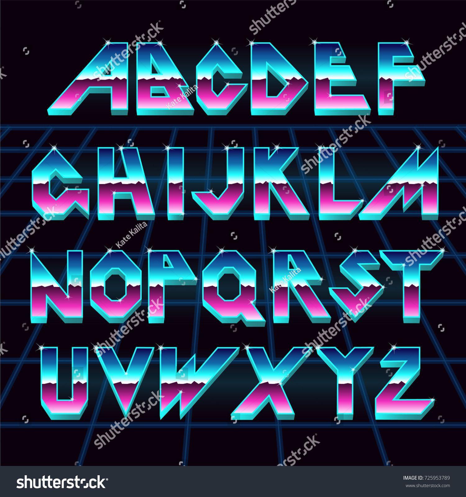 Alphabet 80's retro font Vector typography for flyers