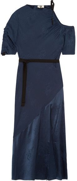 Lambeth Cutout Silk-jacquard Midi Dress - Navy Topshop TXGFGavcBs