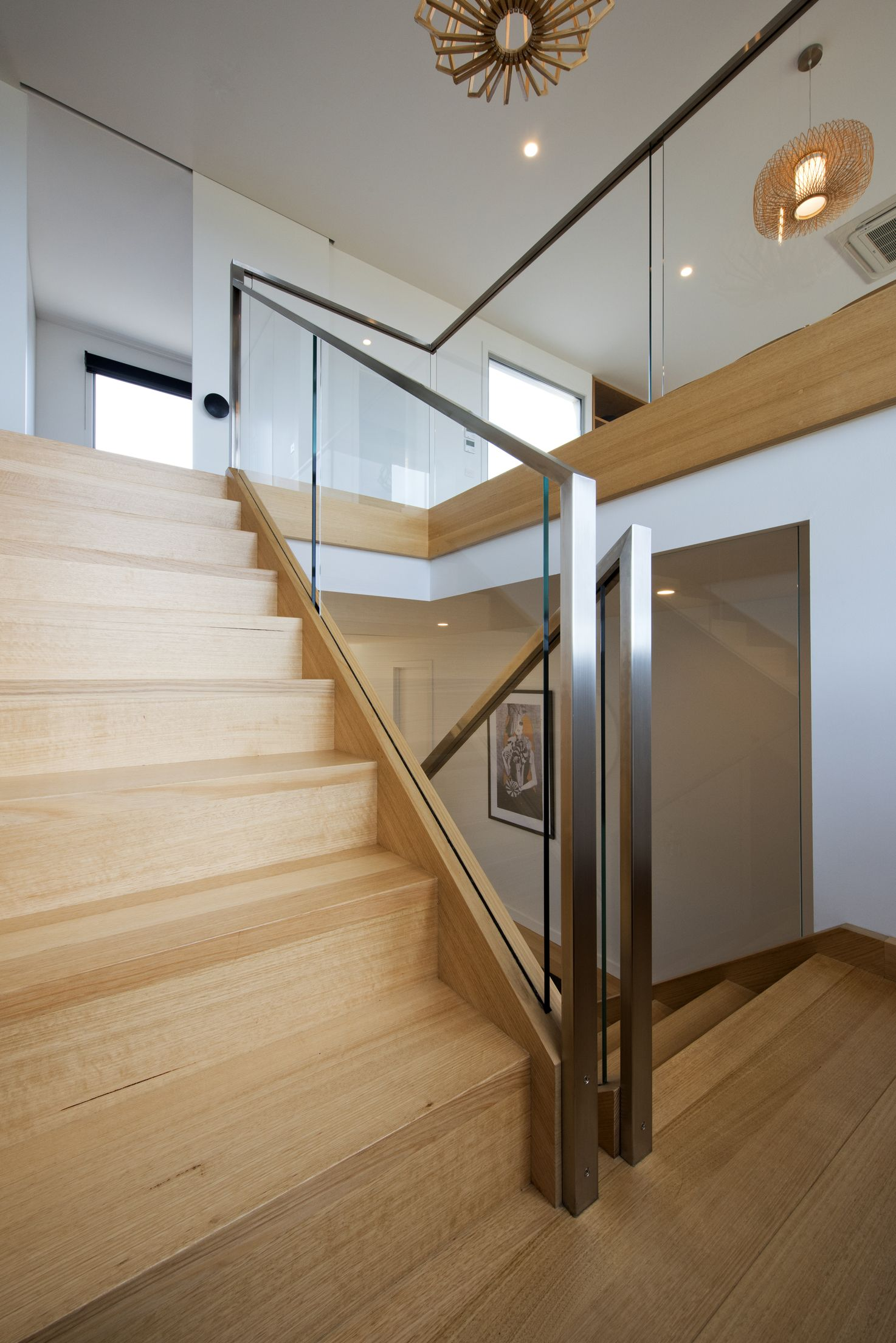 Stairs | Victorian Ash | Stained | Glass Balustrade | Stainless Steel  Handrail | Open Stair