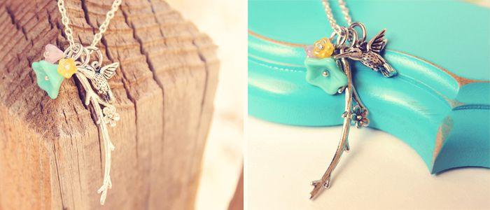 $12 Spring Hummingbird Flower Charm Necklace!