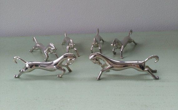 6 porte couteaux cheval en métal