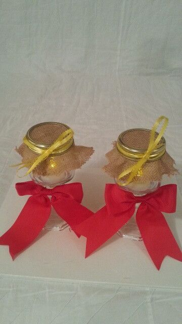 Burlap red and yellow wedding candle jar / center piece set. Any color to match your wedding