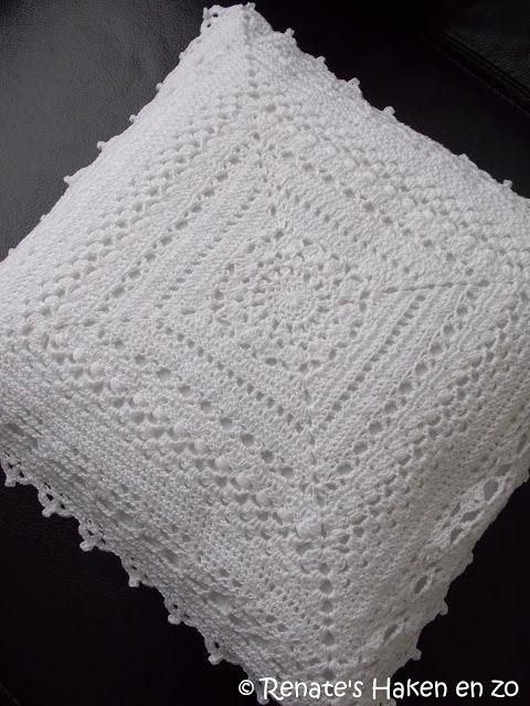 2 Spierwitte Kussens Renates Haken En Zo Crochet Granny Squares