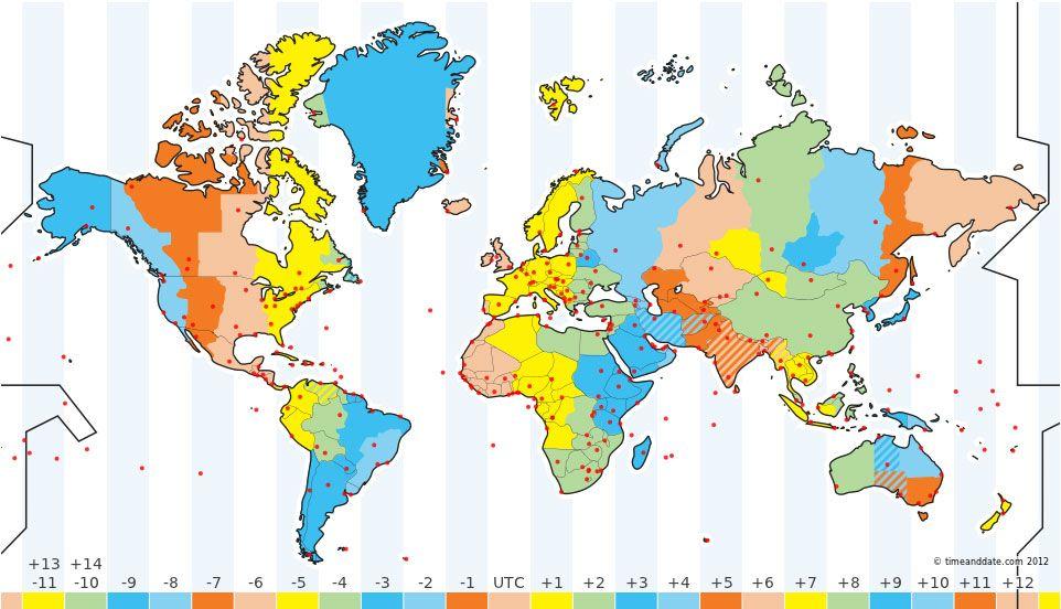 Illustration image gardening tips Pinterest Time zone map - new world clock map online