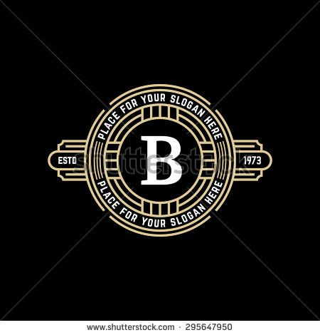 Vintage geometric vector frame with letter B Art deco golden linear - best of luxury invitation vector