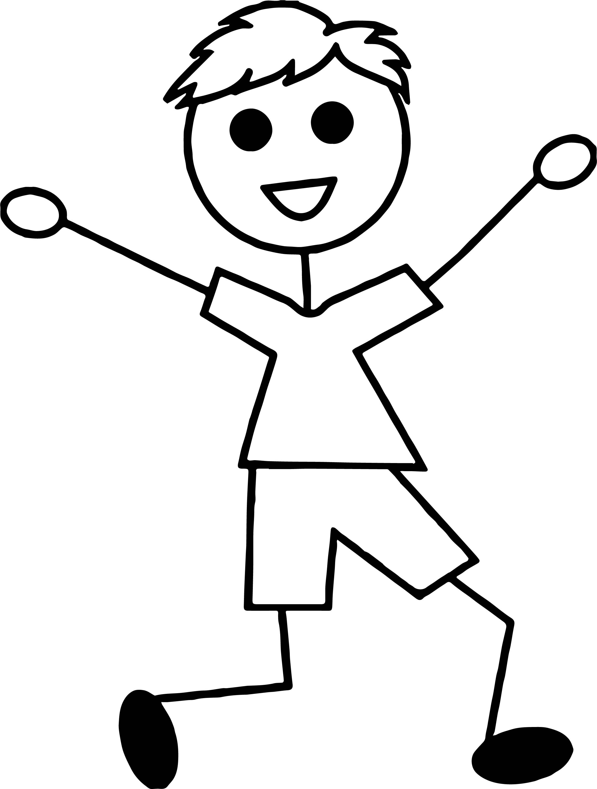 Awesome Stick Boy Coloring Page Boy Coloring Coloring Pages For