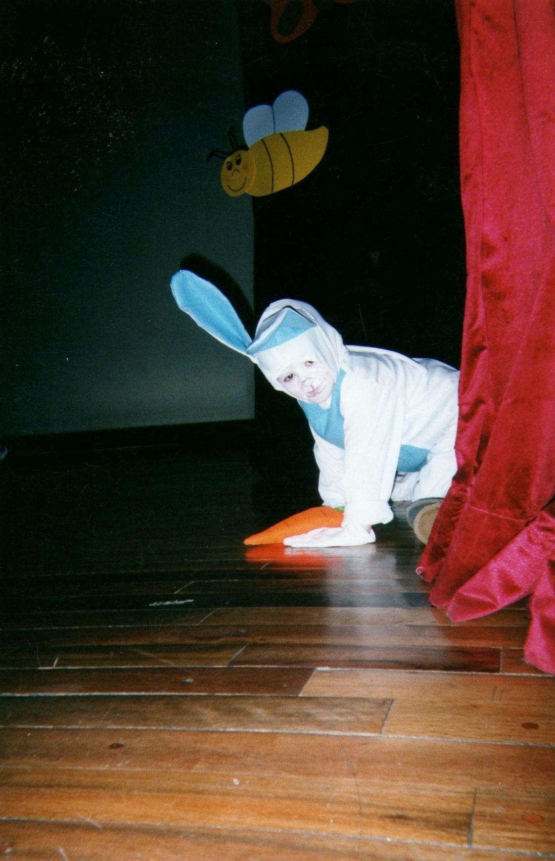 La obra de teatro del pre escolar puede seguir sin el conejo que decide mejor escapar por debajo del telón que tal....
