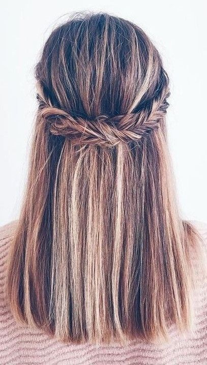 Prom Braid Straight Hair From The Front Google Search Straight Hair With Braid Straight Hairstyles Homecoming Hairstyles