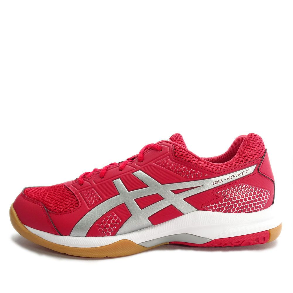 Asics Gel Rocket 8 B706y 2393 Men Volleyball Badminton Shoes Red Silver Wine Asics Sneaker Sneakers Shoes