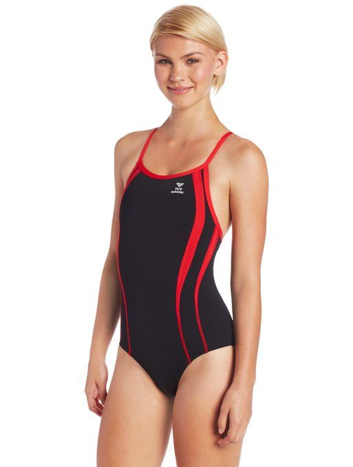 262fa701cd6a0 TYR Women s Alliance Spl D-Bck Competitive Swim 20 Black Red ...