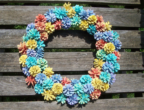 Colorful Pine Cone Wreath High Quality Unique Wreath With Painted