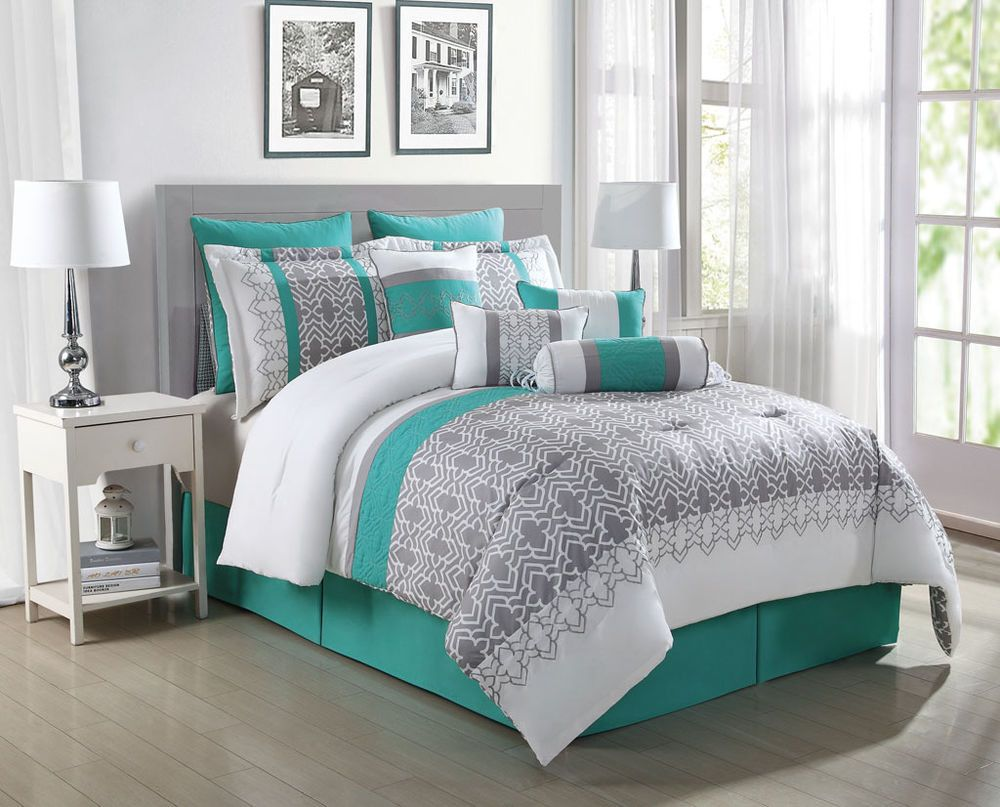 10 piece luna teal gray white reversible comforter set - Grey and turquoise bedroom ideas ...