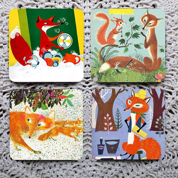 """Another Skulk of Foxes Coaster Set - A group of foxes is called a """"skulk"""" &  skulk will make your tea time much more enjoyable! 