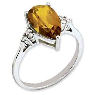 Pear Cut Whiskey Quartz Diamond Sterling Silver Ring Available Exclusively at Gemologica.com
