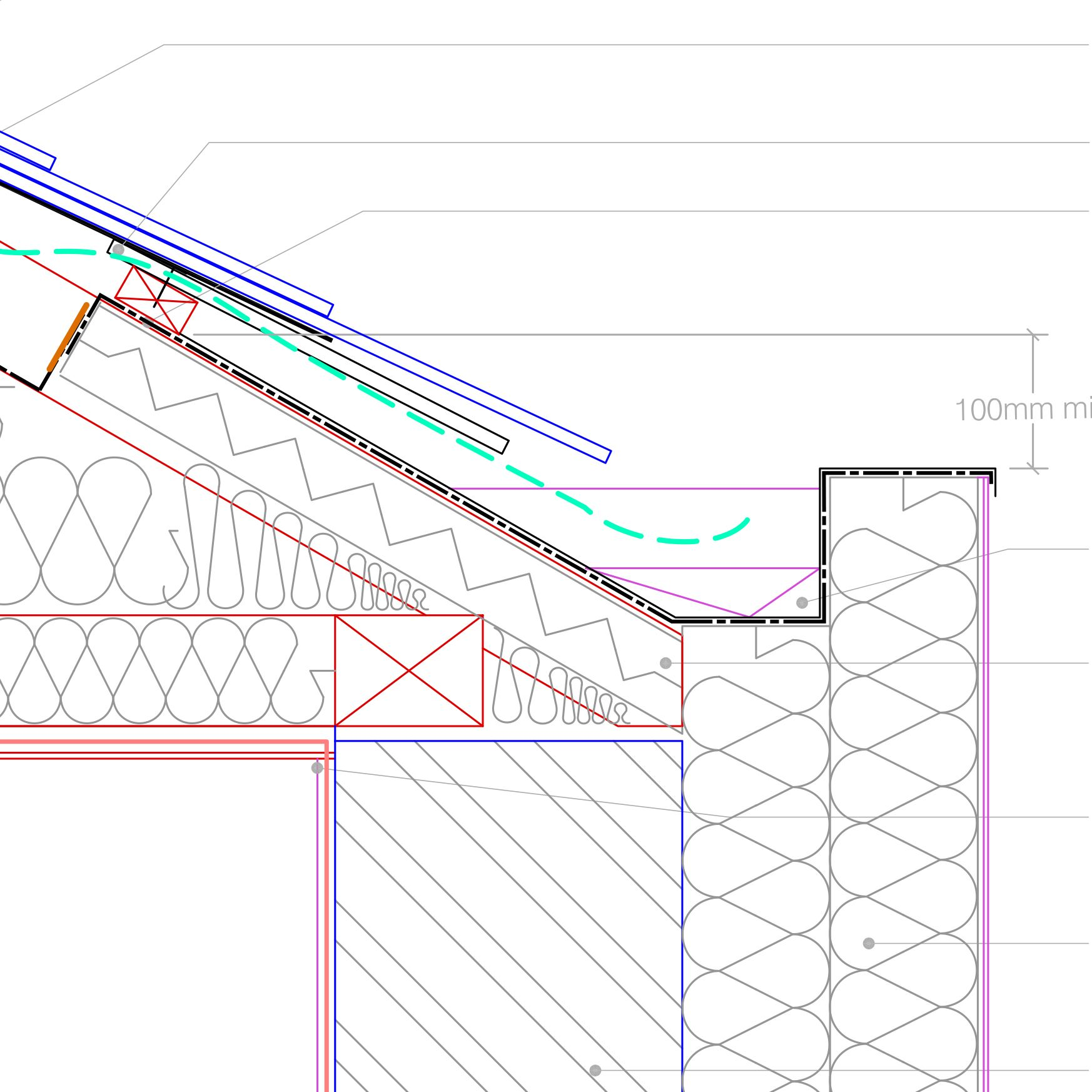 Auto cad drawings flat roof with parapet wall detail - Ewi To Clipped Eaves With Hidden Gutter Retrofit Pattern Book